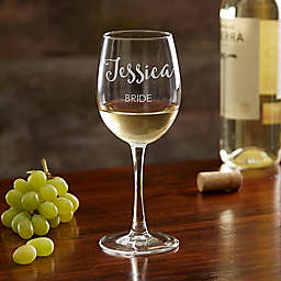 Bridal Party Engraved White Wine Glass