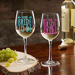 Bride Tribe Personalized 12oz. White Wine Glass