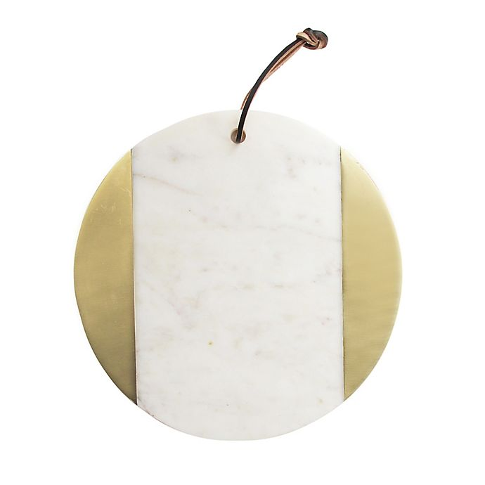 Alternate image 1 for American Atelier 11-Inch Round Marble Cutting Board in Brass/White