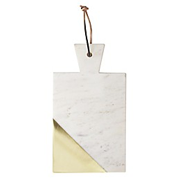 American Atelier 12-Inch Marble Cutting Board in Brass/White
