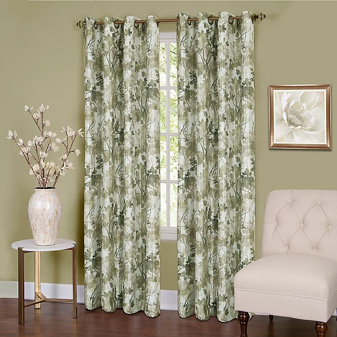 Alternate image 1 for Tranquil 84-Inch Grommet Top Room Darkening Window Curtain Panel in Green