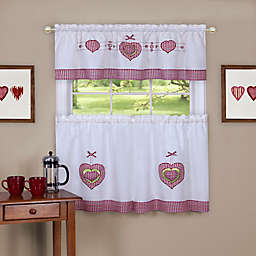 Achim Gingham Hearts Kitchen Window Curtain Tier Pair and Valance