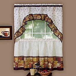 Achim Coffee Kitchen Window Curtain Tier Pair and Swag Valance