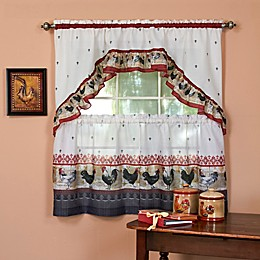 Achim Rooster Kitchen Window Curtain Tier Pair and Swag Valance