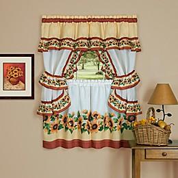 Achim Black-Eyed Susan Cottage Kitchen Window Curtain Tier Pair