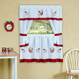 Achim Gala Kitchen Window Curtain Tier Pair and Valance in Red