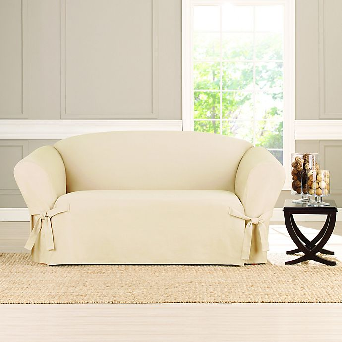 Sure Fit Heavyweight Box Seat Loveseat Cover Bed Bath Beyond