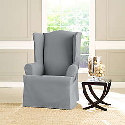 Sure Fit® Heavyweight T Wing Chair Cover in Pacific Blue
