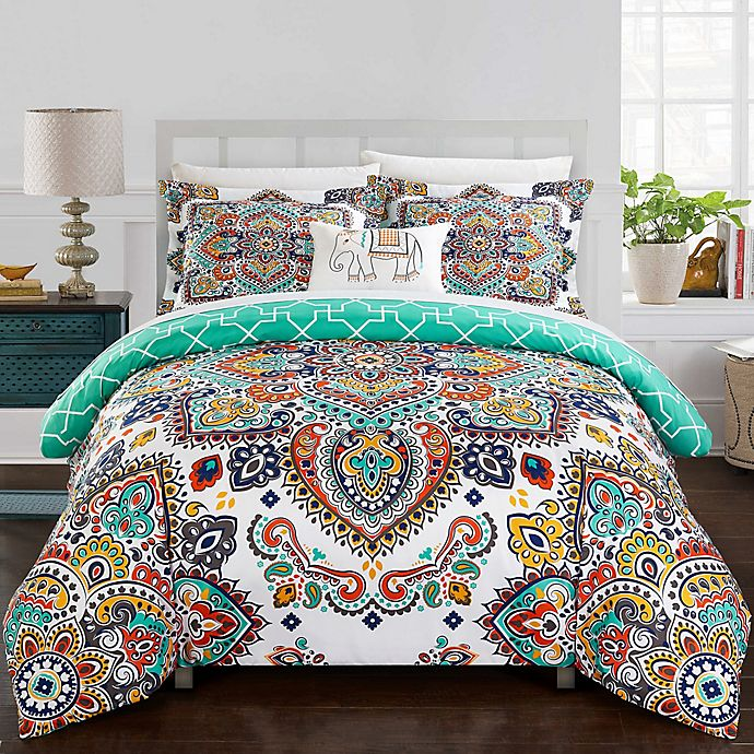 Alternate image 1 for Chic Home Max 8-Piece Queen Duvet Cover in Aqua