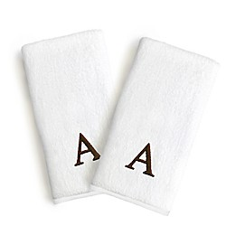 Linum Home Textiles Bridal Monogram Letter Hand Towels in Brown/White (Set of 2)