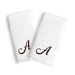 Linum Home Textiles Monogrammed Letter Luxury Bridal Hand Towel (Set of 2)
