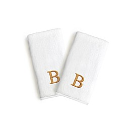 Linum Home Textiles Bridal Monogram Letter Hand Towels in White/Gold (Set of 2)