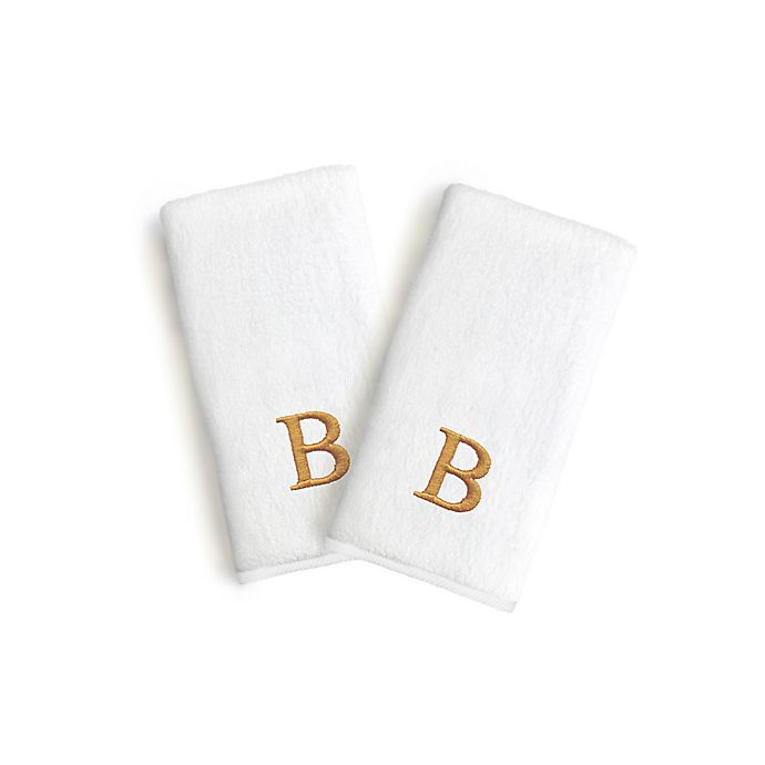 Alternate image 1 for Linum Home Textiles Bridal Monogram Letter Hand Towels in White/Gold (Set of 2)