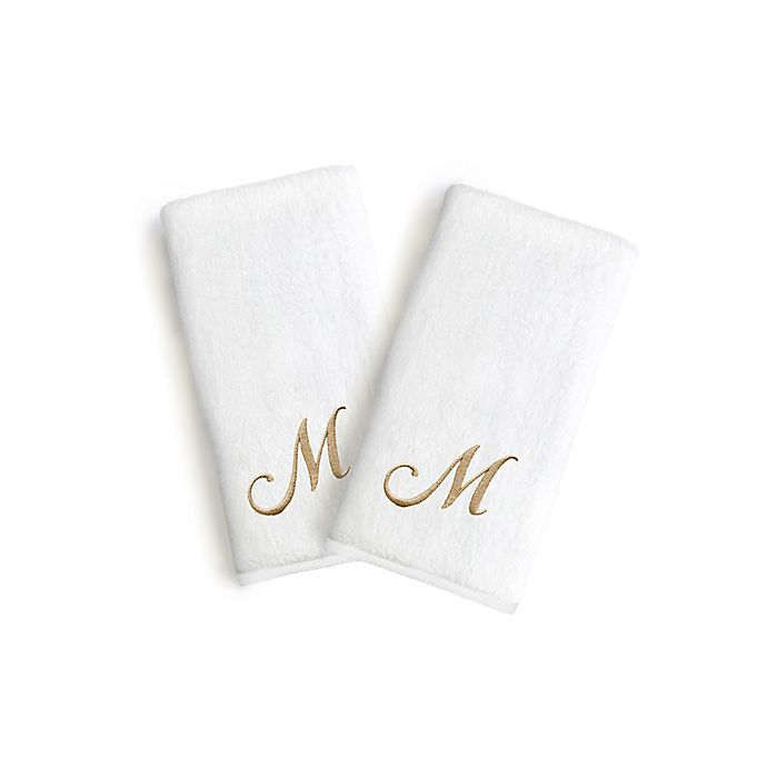 Alternate image 1 for Linum Home Textiles Bridal Monogram Script Letter Hand Towels in White/Gold (Set of 2)