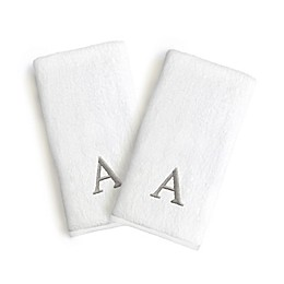 Linum Home Textiles Monogrammed Block Font Letter Bridal Hand Towel (Set of 2)