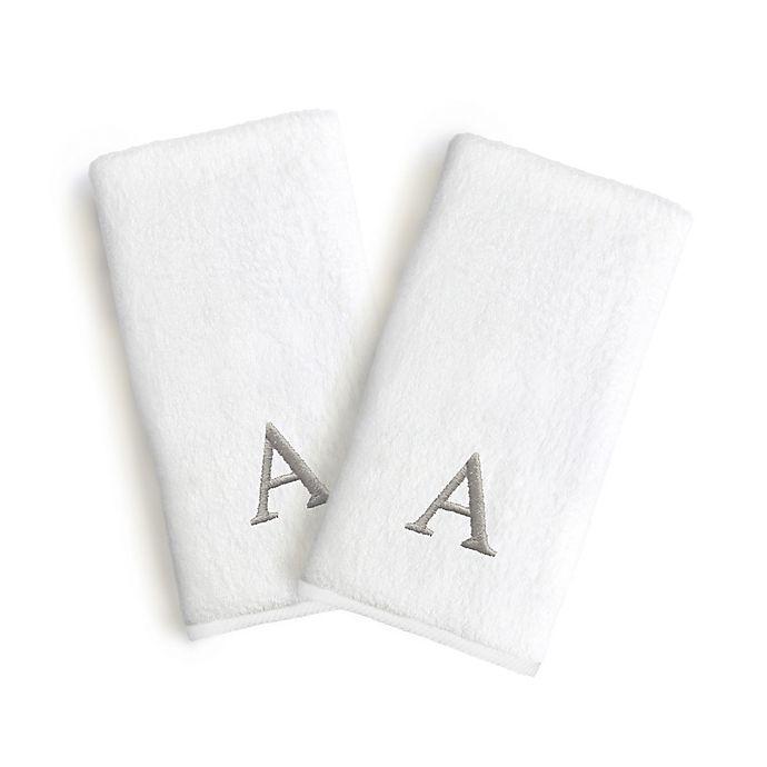 Alternate image 1 for Linum Home Textiles Monogrammed Block Font Letter Bridal Hand Towel (Set of 2)