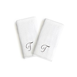 Linum Home Textiles Monogrammed Letter Luxury Bridal Hand Towel in White (Set of 2)