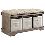 Forest Gate 42  Contemporary Wood Storage Bench with Totes and Cushion in Driftwood