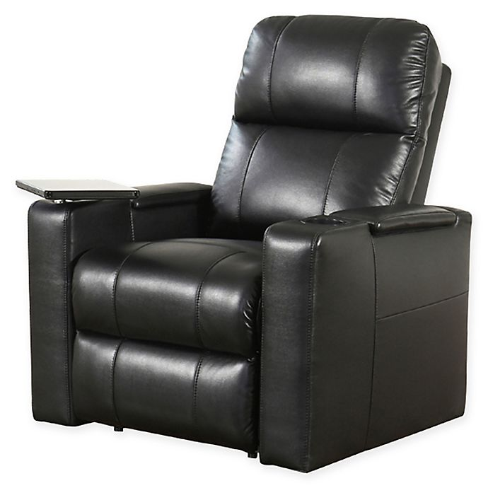 Excellent Abbyson Living Cary Leather Theater Recliner In Black Bed Bralicious Painted Fabric Chair Ideas Braliciousco