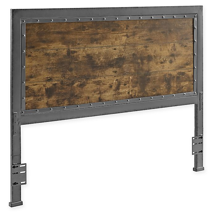 Alternate image 1 for Forest Gate Holter Industrial QueeninSize Wood Metal Headboard