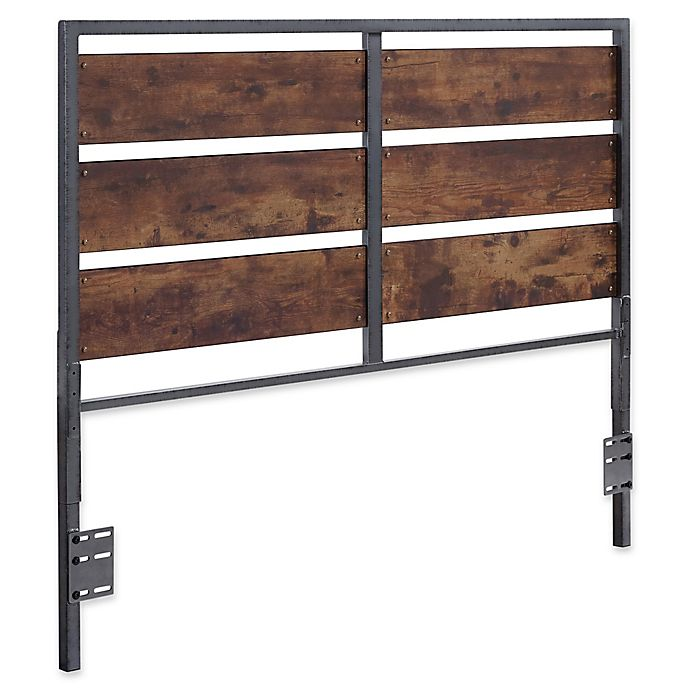 Alternate image 1 for Forest Gate Holter Industrial QueeninSize Wood Metal Plank Headboard