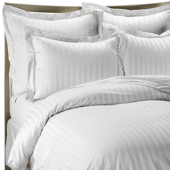 Alternate image 1 for Wamsutta® 500 Damask Stripe Duvet Cover Set in White