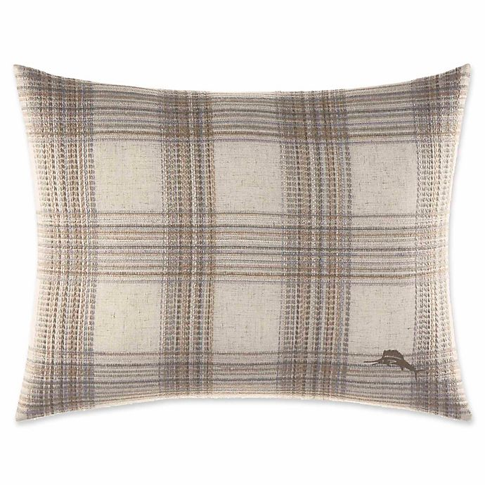 Alternate image 1 for Tommy Bahama® Raffia Palms 16-Inch x 20-Inch Plaid Oblong Throw Pillow in Pebble