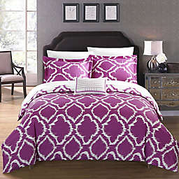 Chic Home Sasha 8-Piece Reversible King Duvet Cover Set in Lavender