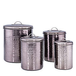 Old Dutch International Black Pearl 4-Piece Hammered Canister Set