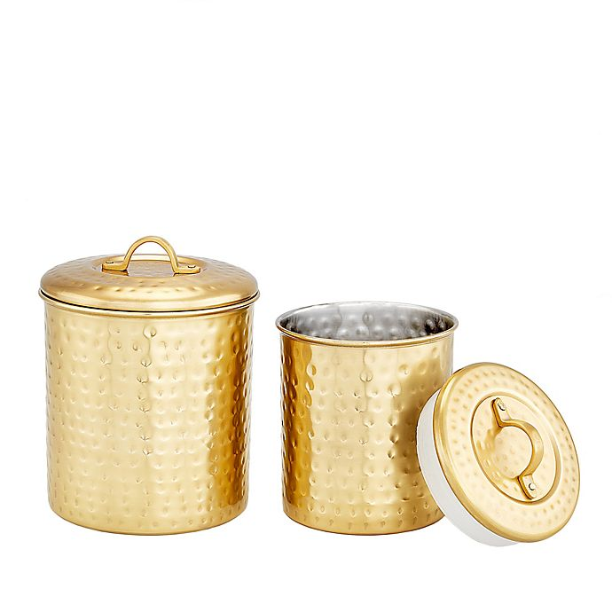 Alternate image 1 for Old Dutch International 2-Piece Hammered Canister Set in Champagne