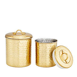 Old Dutch International 2-Piece Hammered Canister Set in Champagne