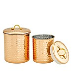 Old Dutch International 2-Piece Hammered Storage Canisters in Copper