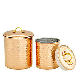 Old Dutch International Hammered Kitchen Tool Caddy and Canister Collection in Copper