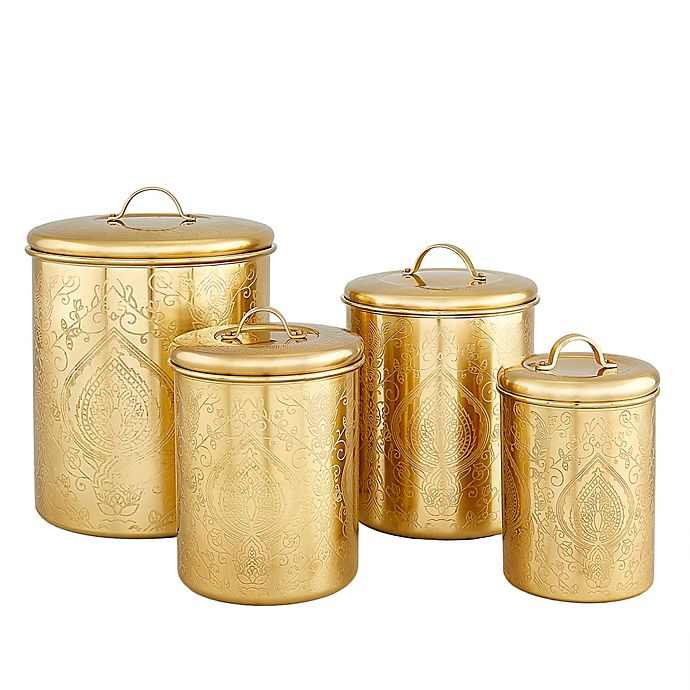 Alternate image 1 for Old Dutch International 4-Piece Tangier Etched Canister Set in Champagne