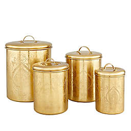 Old Dutch International 4-Piece Tangier Etched Canister Set in Champagne