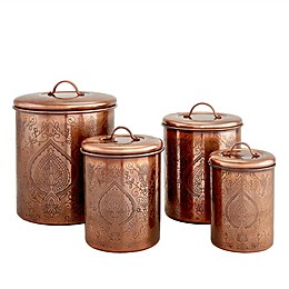 Old Dutch International Tangier Etched 4-Piece Canister Set in Antique Copper