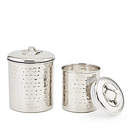 Old Dutch International 2-Piece Hammered Stainless Steel Storage Canisters