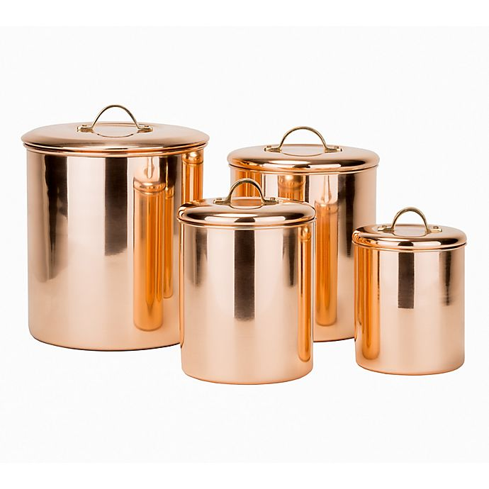 Alternate image 1 for Old Dutch International 4-Piece Polished Canister Set with Brass Handles in Copper