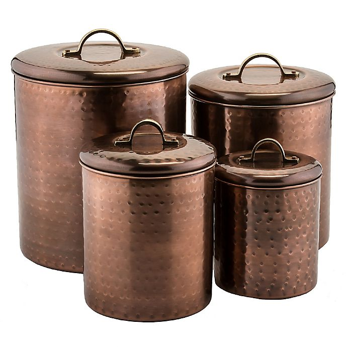 Alternate image 1 for Old Dutch International 4-Piece Hammered Canister Set with Brass Knobs in Antique Copper
