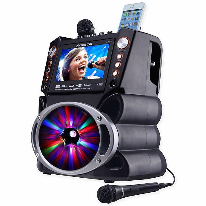 Alternate image 1 for Karaoke USA DVD/CDG/MP3G Karaoke Machine with Screen/Bluetooth/LED Display