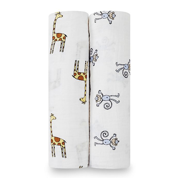 Alternate image 1 for aden + anais® Classic 2-Pack Muslin Swaddles in Jungle Jam Monkey + Giraffe