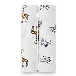 aden + anais® Classic 2-Pack Muslin Swaddles in Jungle Jam Monkey + Giraffe