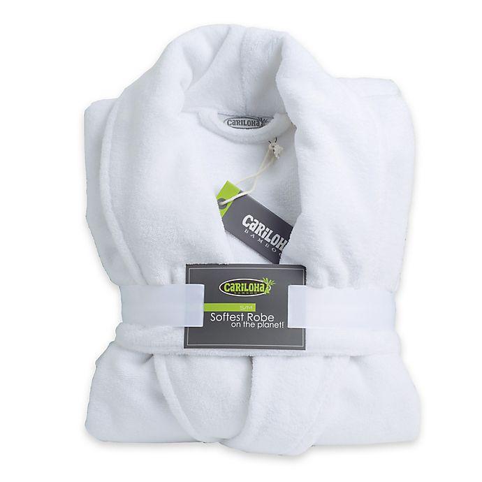 Alternate image 1 for Cariloha® Small/Medium Unisex Ultra-Plush Viscose from Bamboo Bathrobe in White