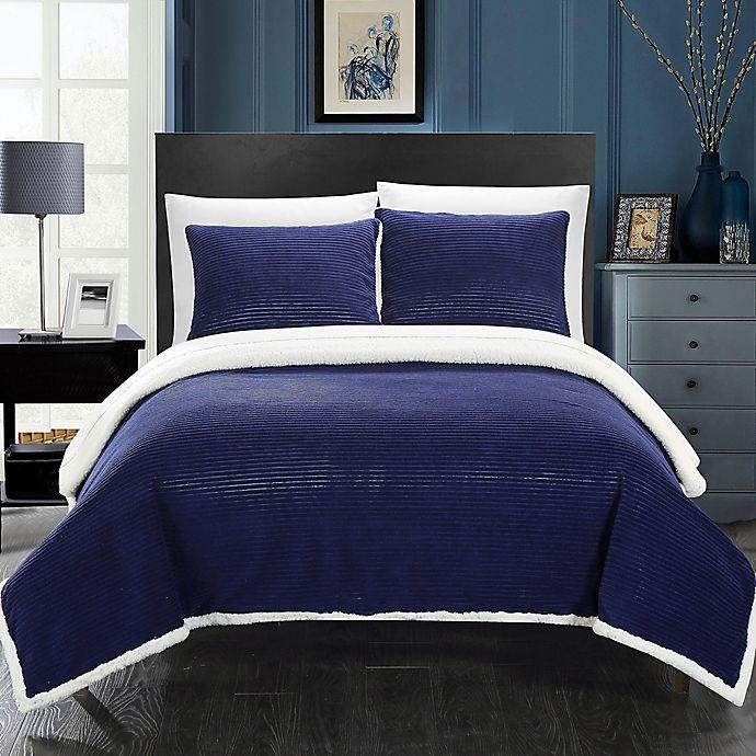 Alternate image 1 for Chic Home Vargon King Blanket Set in Navy