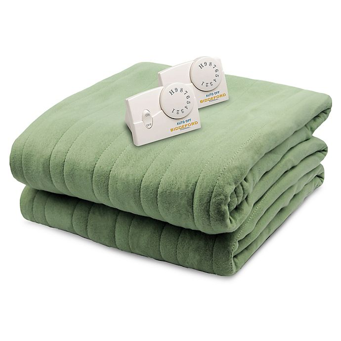 Alternate image 1 for Biddeford® Comfort Knit Analog Heated Queen Blanket in Sage