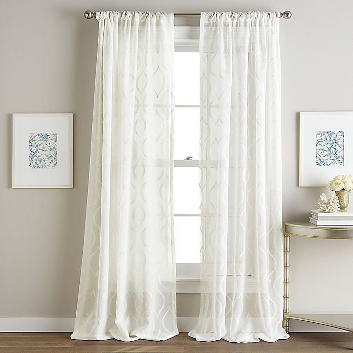 Hourglass Embroidered Rod Pocket Window Curtain Panel In