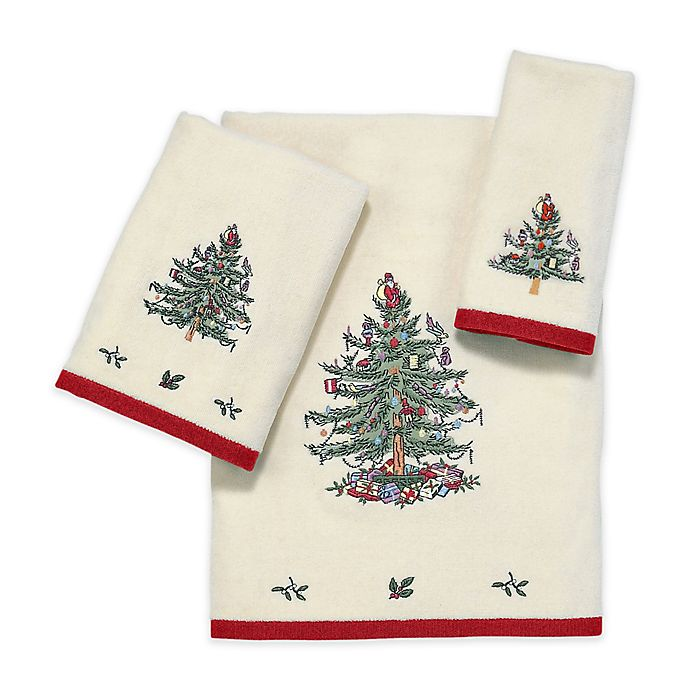Alternate image 1 for Avanti Spode Christmas Tree Bath Towel in Red