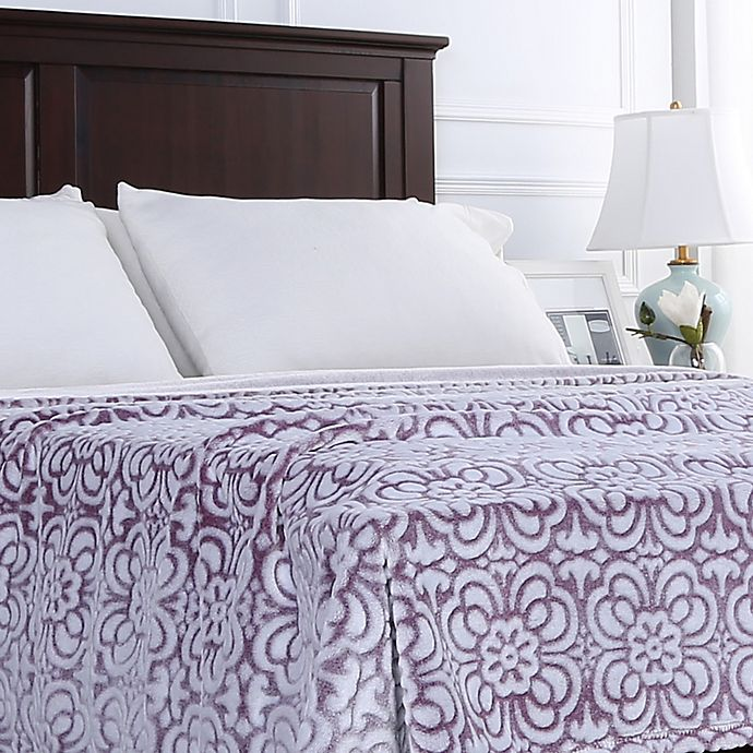 Alternate image 1 for Berkshire Blanket® VelvetLoft® Floral Full/Queen Blanket in Purple