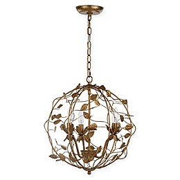 Safavieh Austen Cage 3-Light Chandelier in Gold Leaf