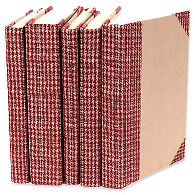 Leather Books Plaid Fabric Re-bound Decorative Books in Red (Set of 5)
